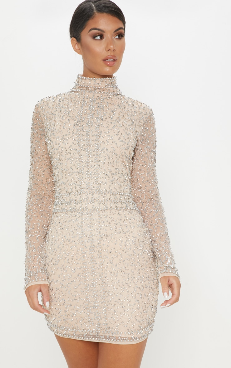 Nude Sequin Embellished High Neck Bodycon Dress 1