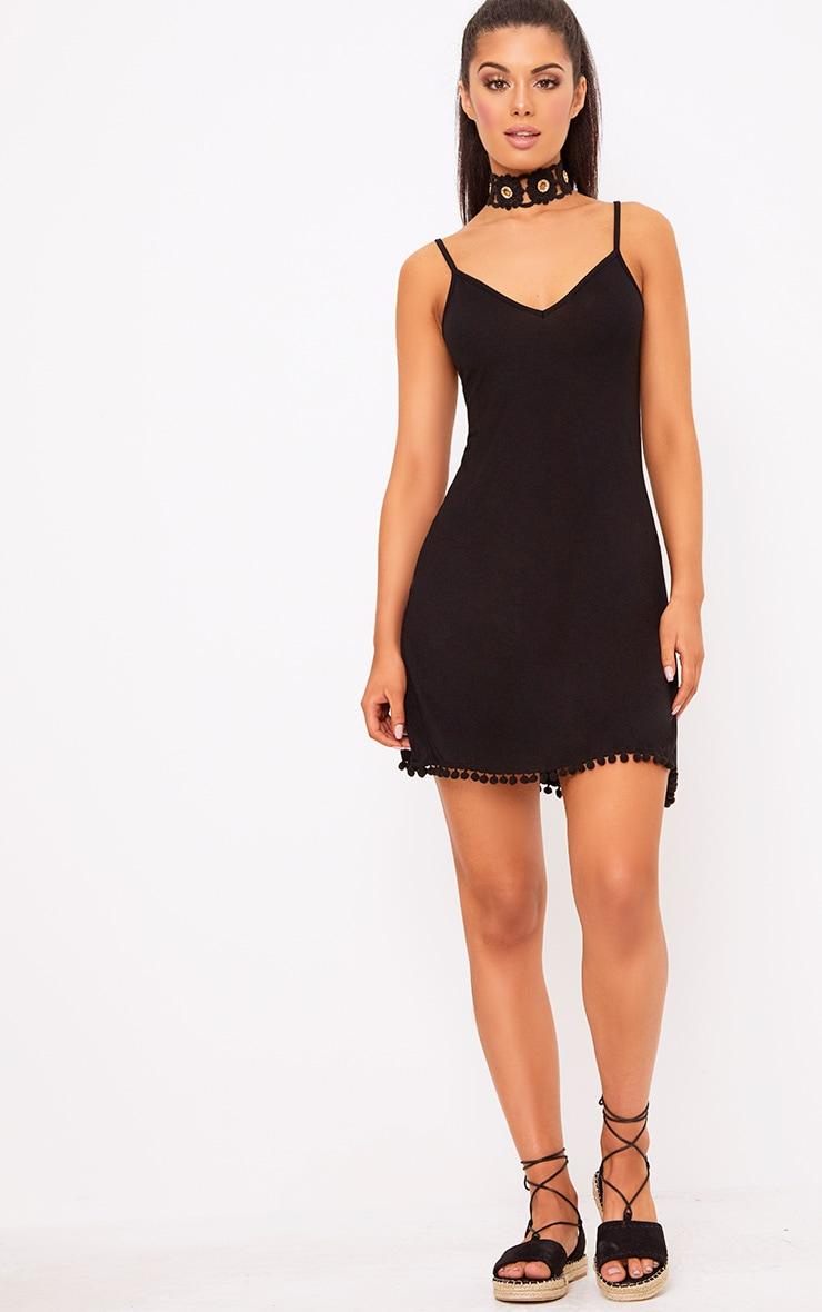 Black Pom Pom Swing Dress 4