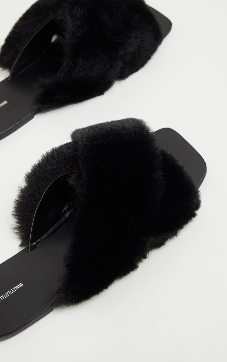 Black Cross Strap Faux Fur Mule Sandal 4