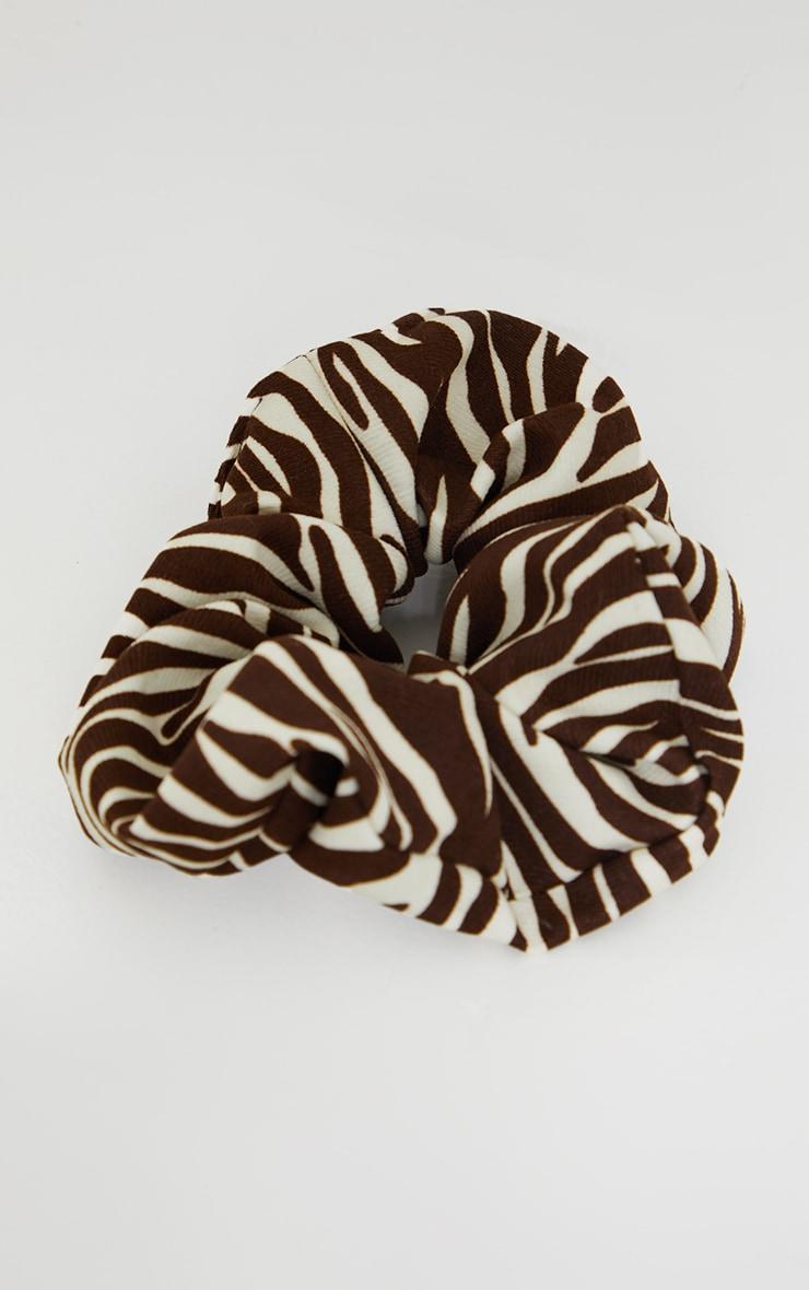 Brown Zebra Oversized Scrunchie 2