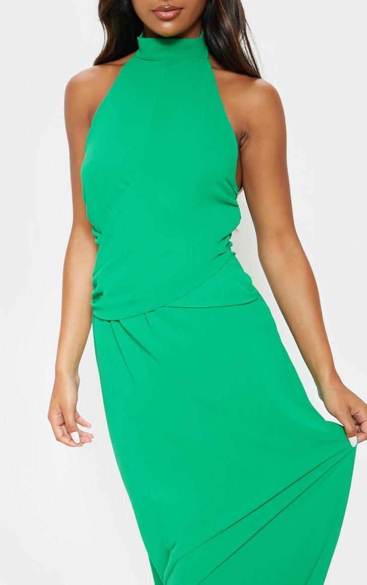 Green Halterneck Wrap Front Maxi Dress 5