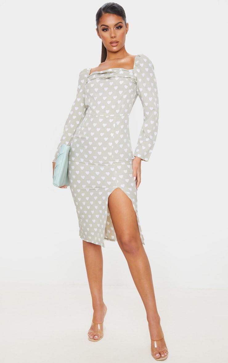 Sage Green Heart Print Square Neck Long Sleeve Midi Dress 1