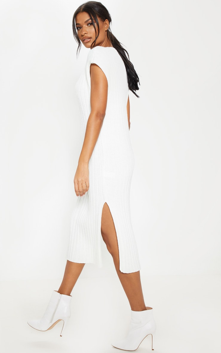 Cream Ribbed V Neck Midi Knitted Dress 2