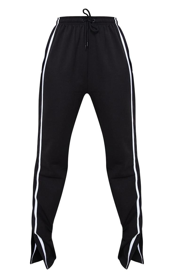 Tall Black Double Stripe Split Hem Joggers 5