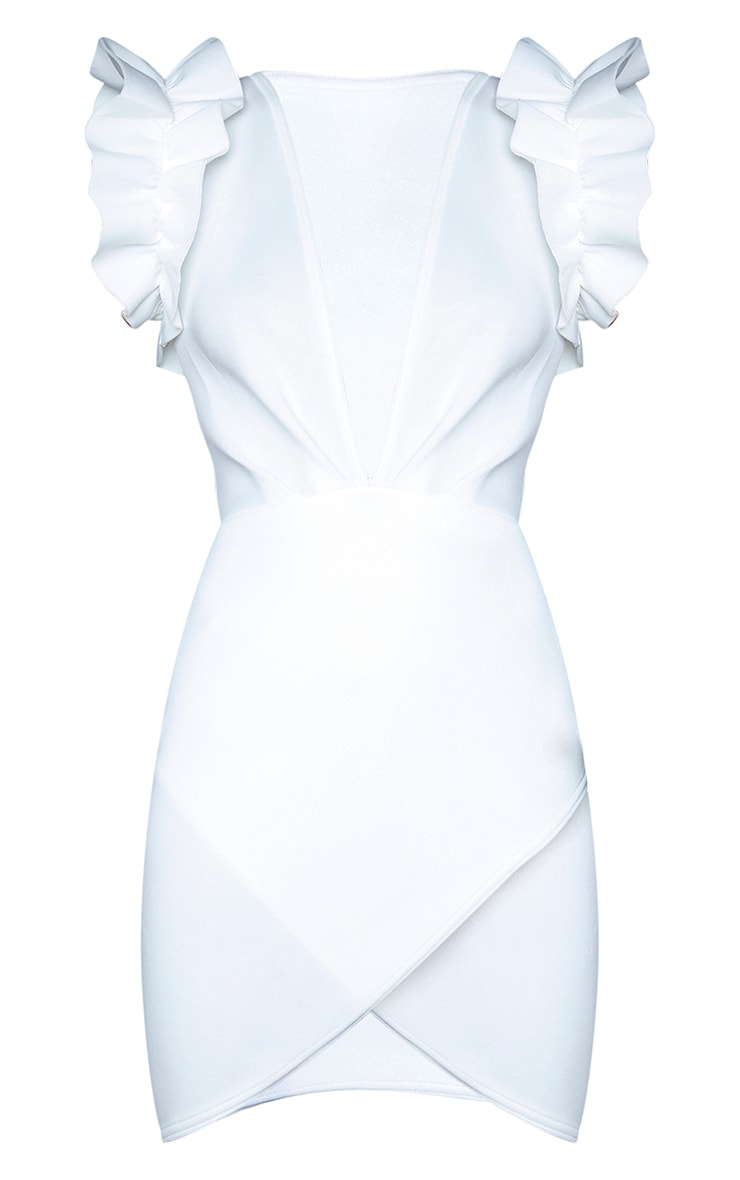 White Scuba Frill Sleeve Plunge Bodycon Dress 5