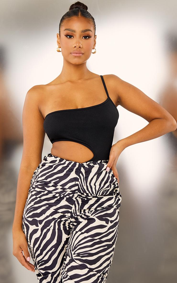 Black Crepe Cut Out Side Bodysuit 2