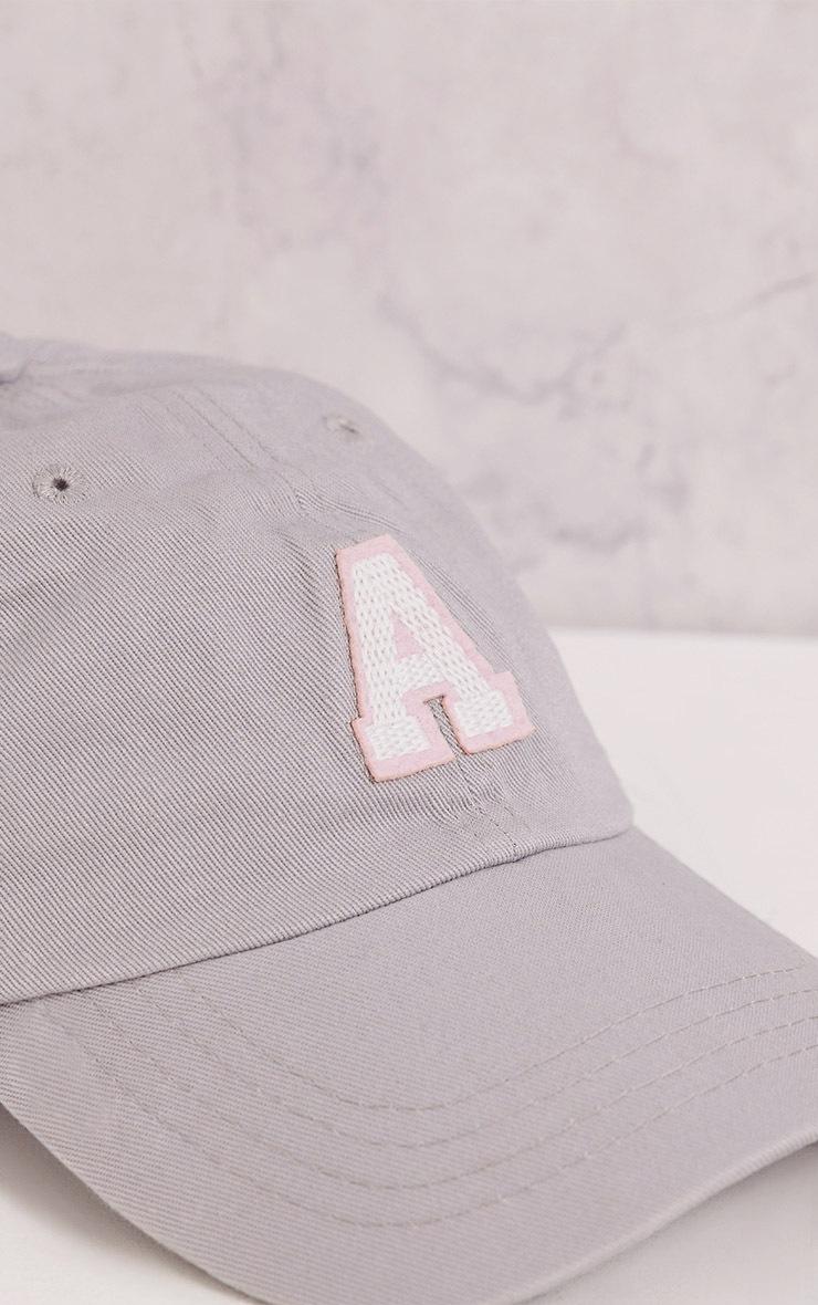 A Grey Slogan Baseball Cap 6