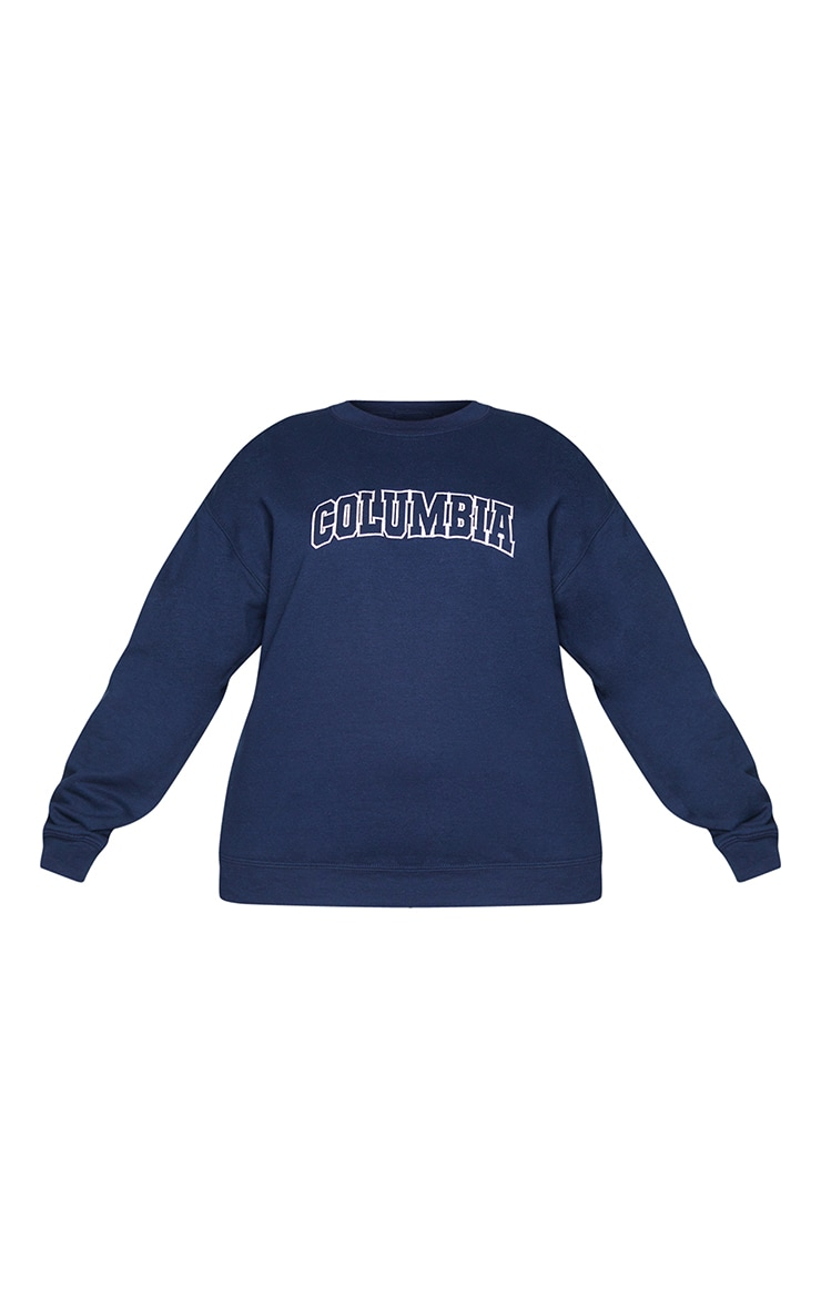 Plus Navy Columbia Embroidered Oversized Sweater 5