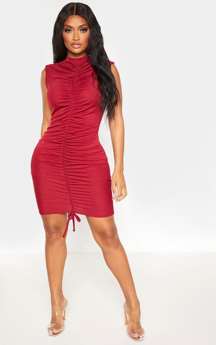 Shape Burgundy High Neck Ruched Front Sleeveless Bodycon Dress 4