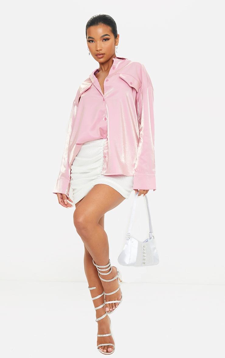 Pink Premium Woven Metallic Oversized Shirt 3
