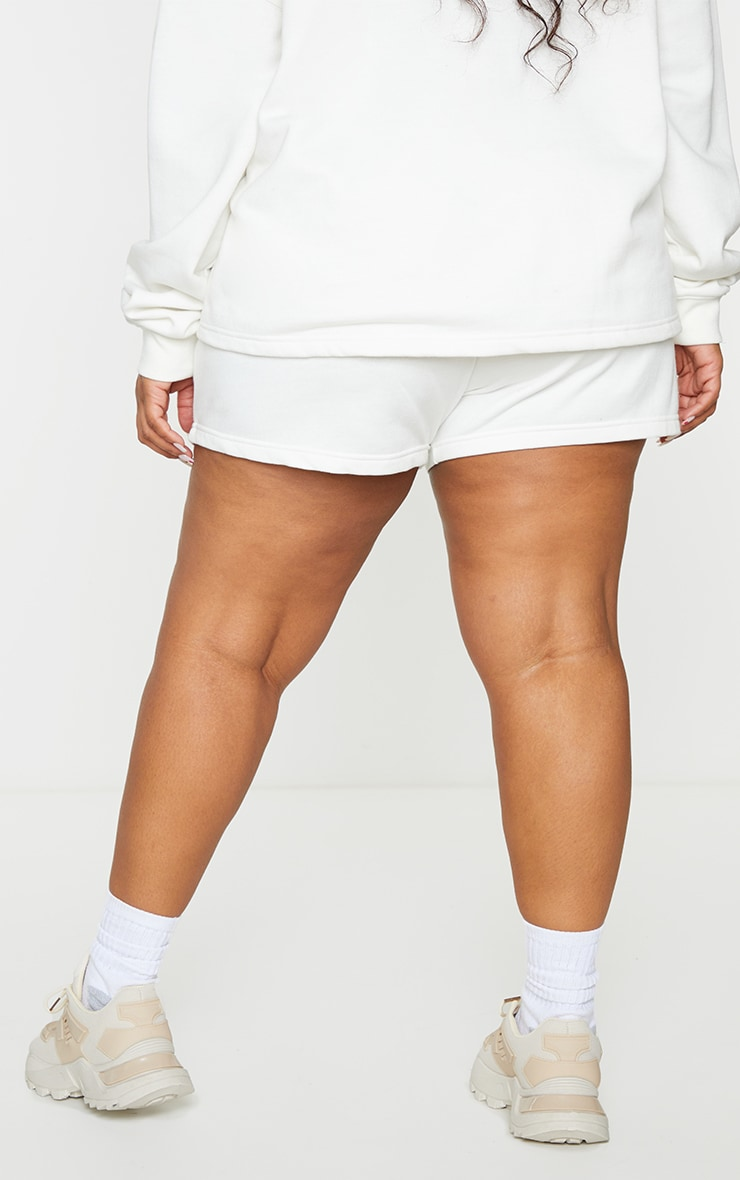 PRETTYLITTLETHING Plus Cream Embroidered Oversized Sweat Shorts 3