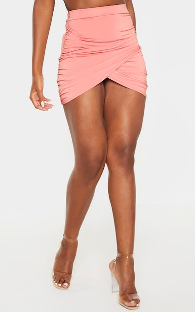 Dusty Rose Slinky Ruched Detail Wrap Mini Skirt