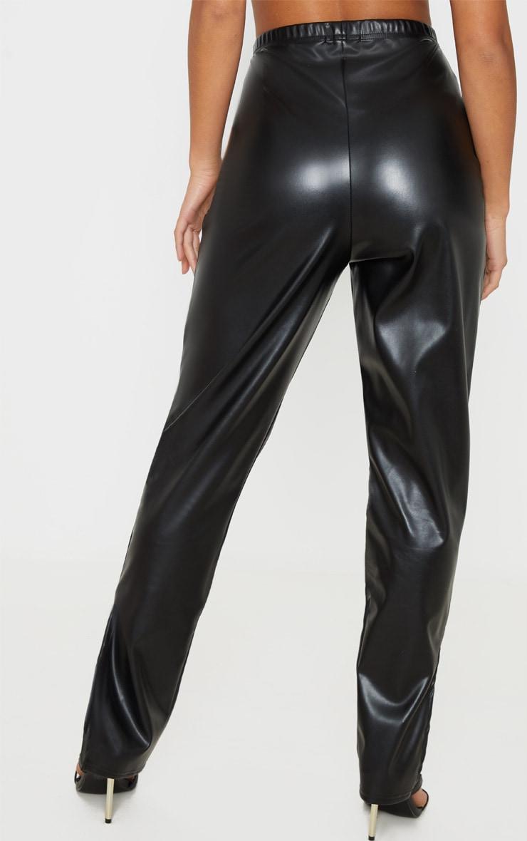Petite Black Split Hem Flared PU Pants 4