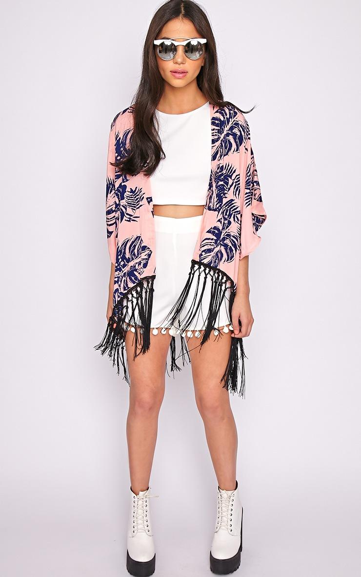Maisie Pink Tropical Tassel Kimono  3