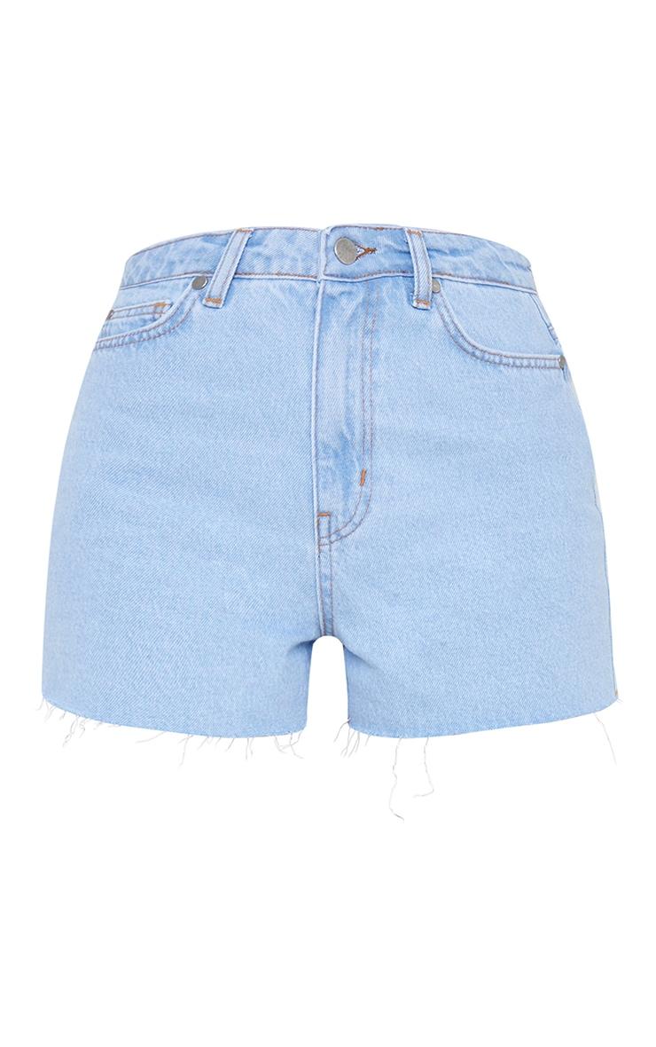 Light Blue Wash Raw Hem Mom Shorts 6
