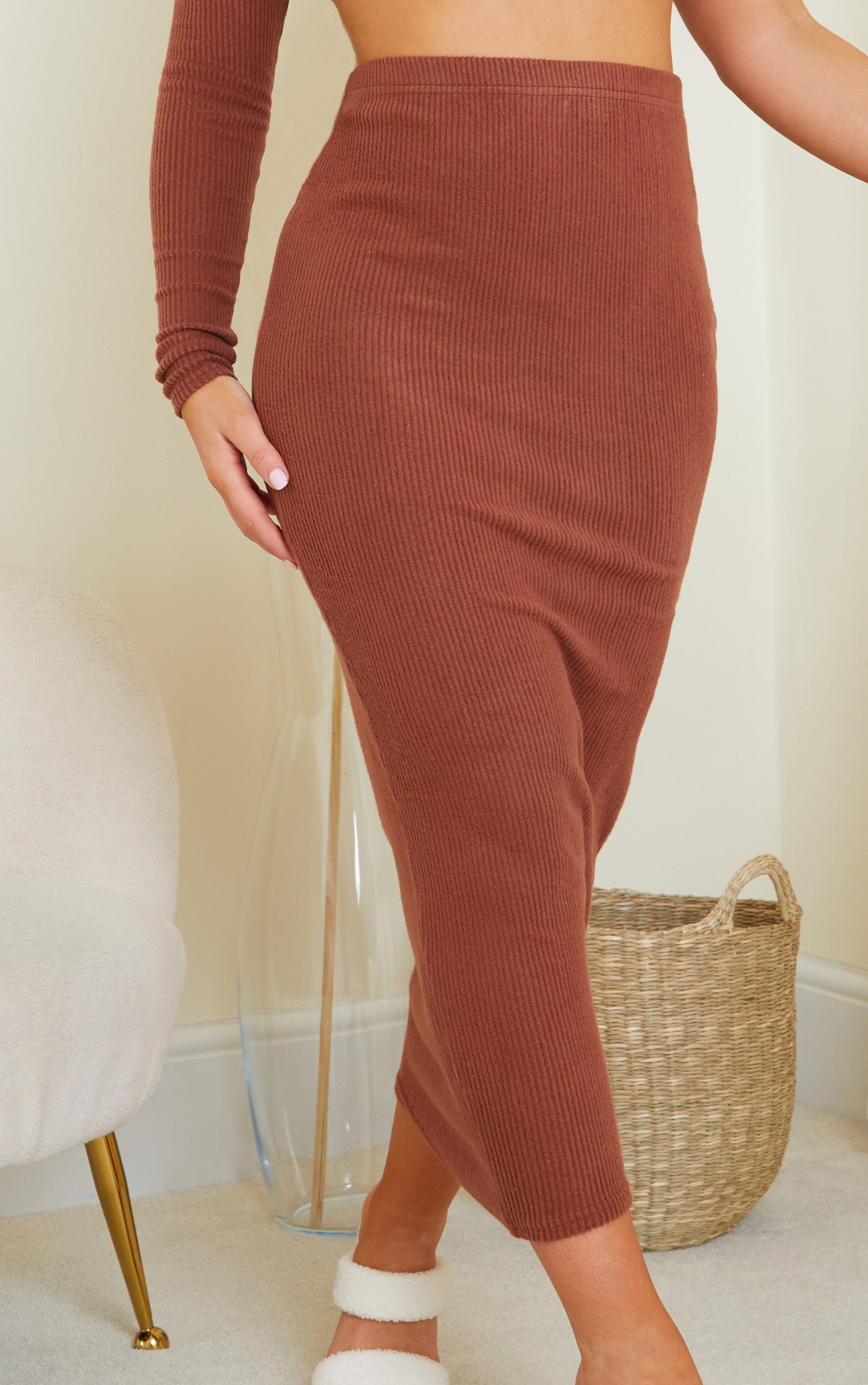 Chocolate Brown Brushed Rib Midaxi Skirt 4