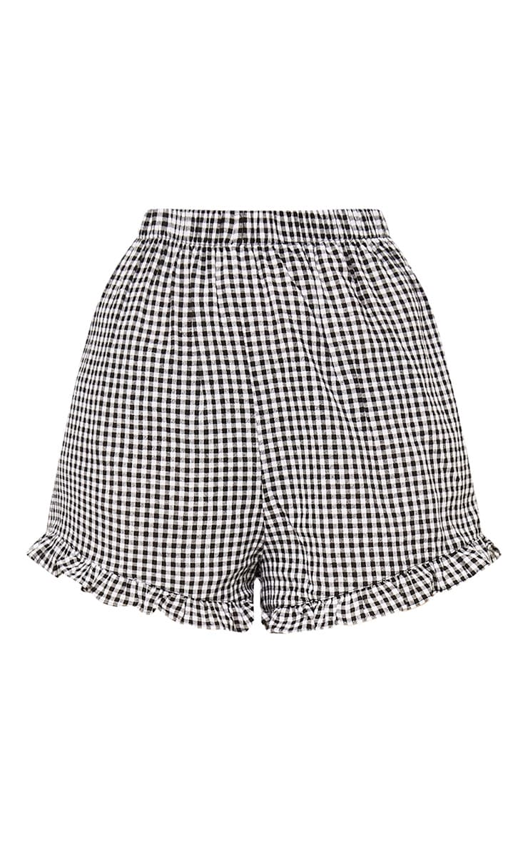 Lorinda Black Gingham Frill Hem Shorts 2