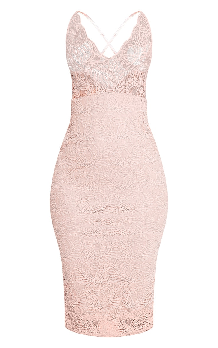 Mikalia Nude Strappy Lace Midi Dress 3