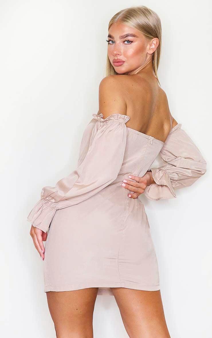 Stone Bardot Corset Detail Woven Bodycon Dress 2