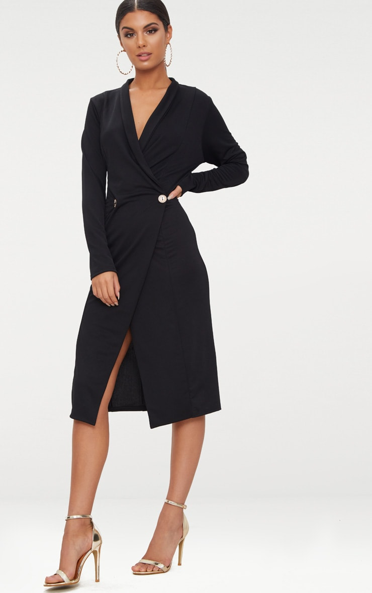 Black Button Detail Blazer Midi Dress 4