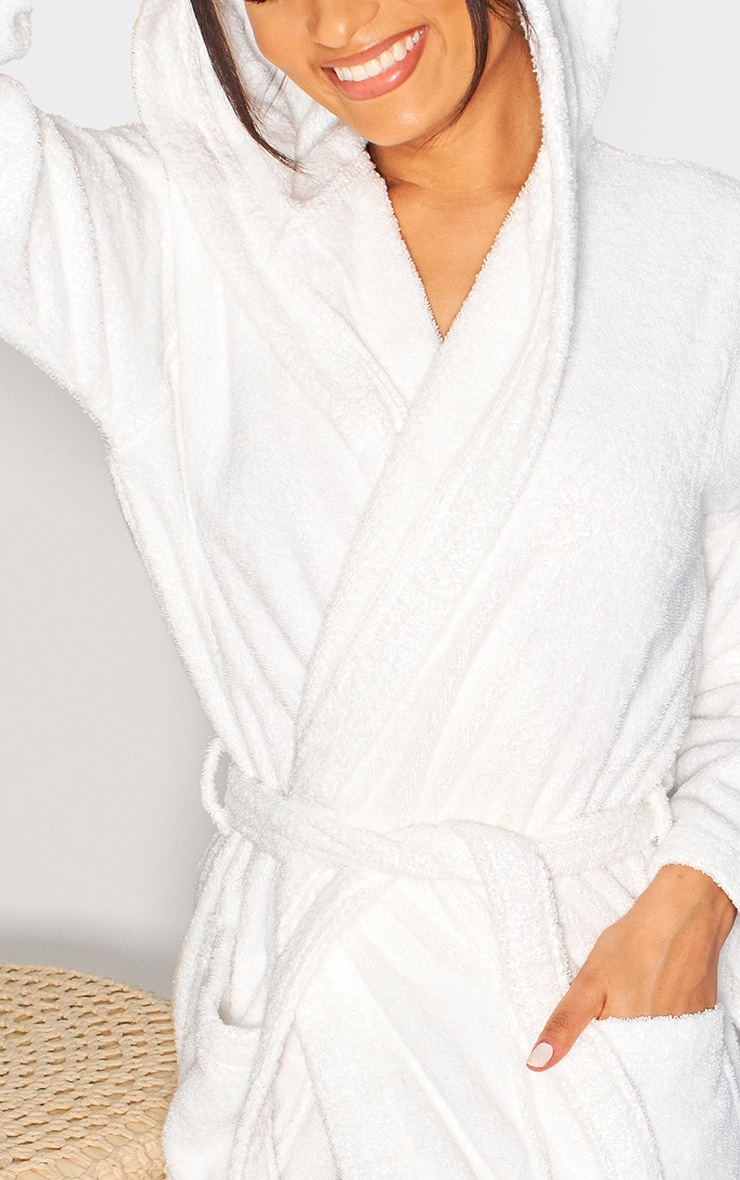 White Hooded Towelling Dressing Gown 3