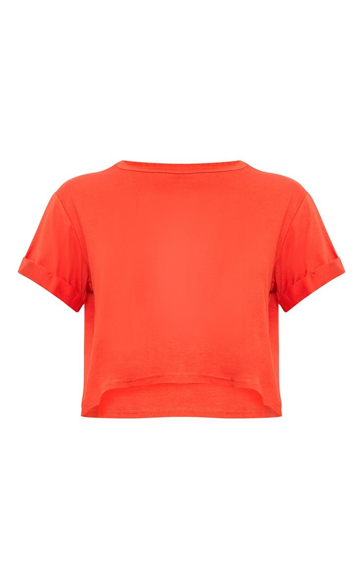 Basic Bright Orange Roll Sleeve Crop T Shirt  3