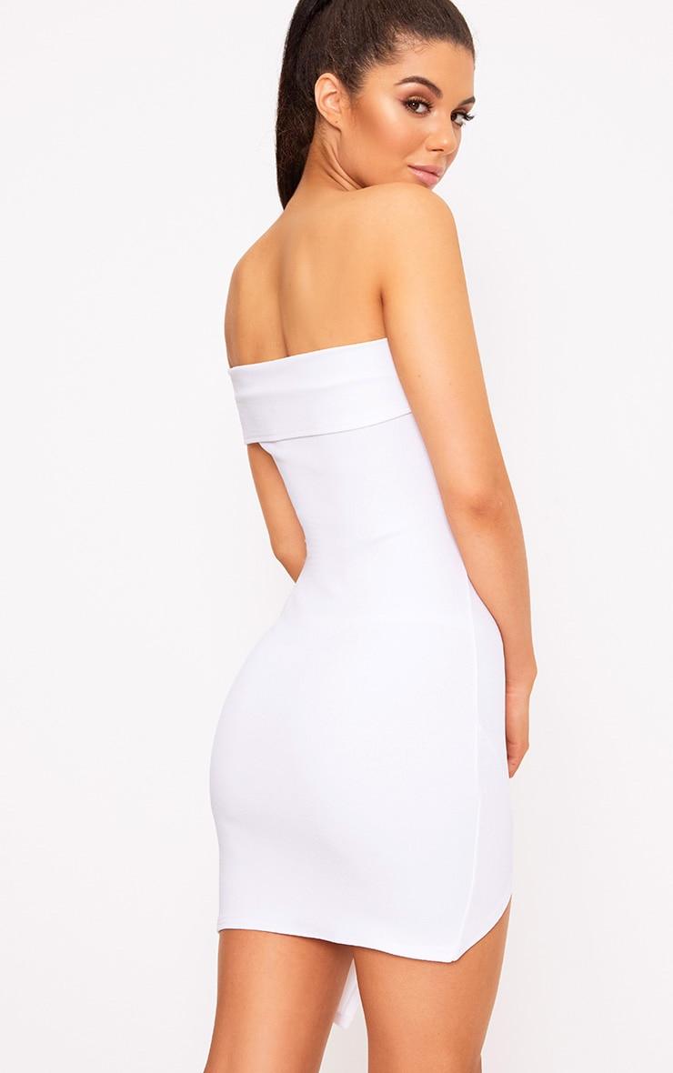 White One Arm Wrap Bodycon Dress 2