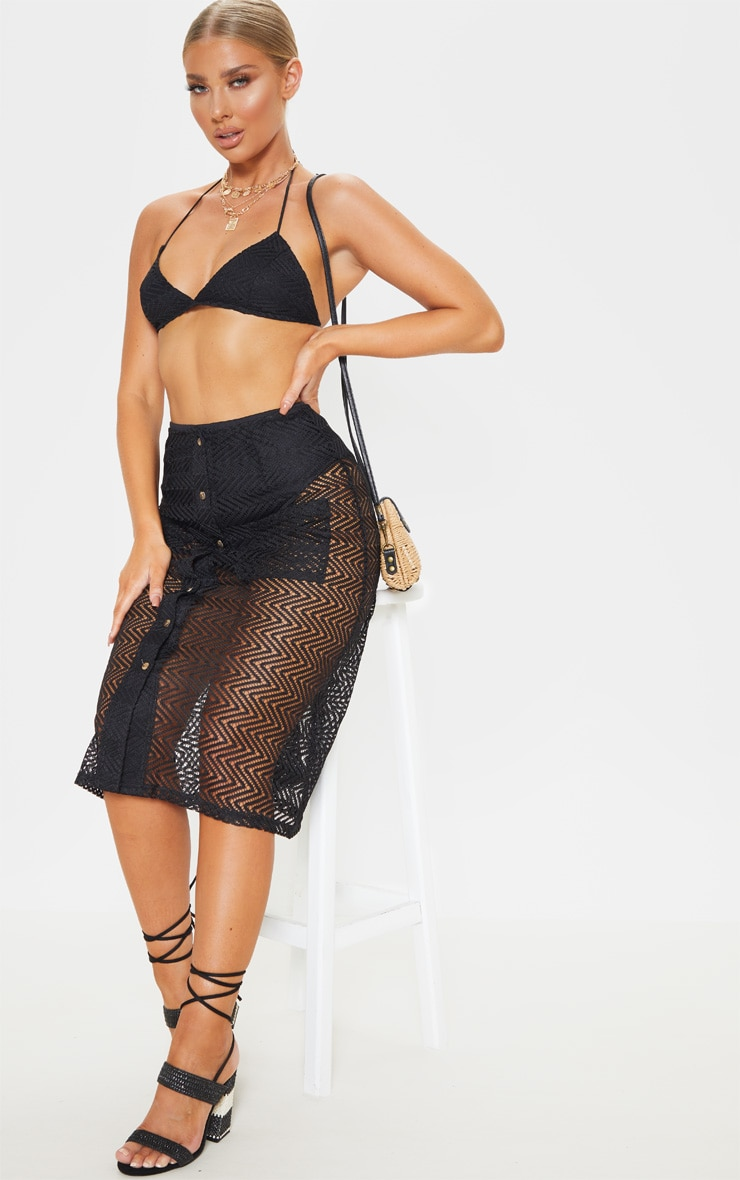 Black Crochet Triangle Bralet 4