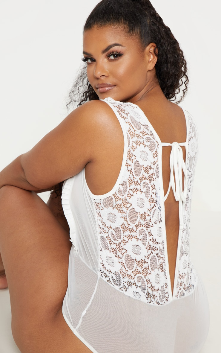 Plus White Lace Tie Back Mesh Bodysuit 1