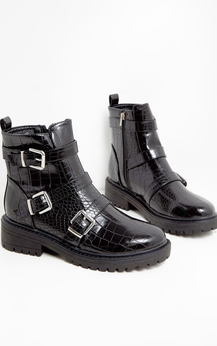 Black Triple Strap Buckle Biker Boot  1