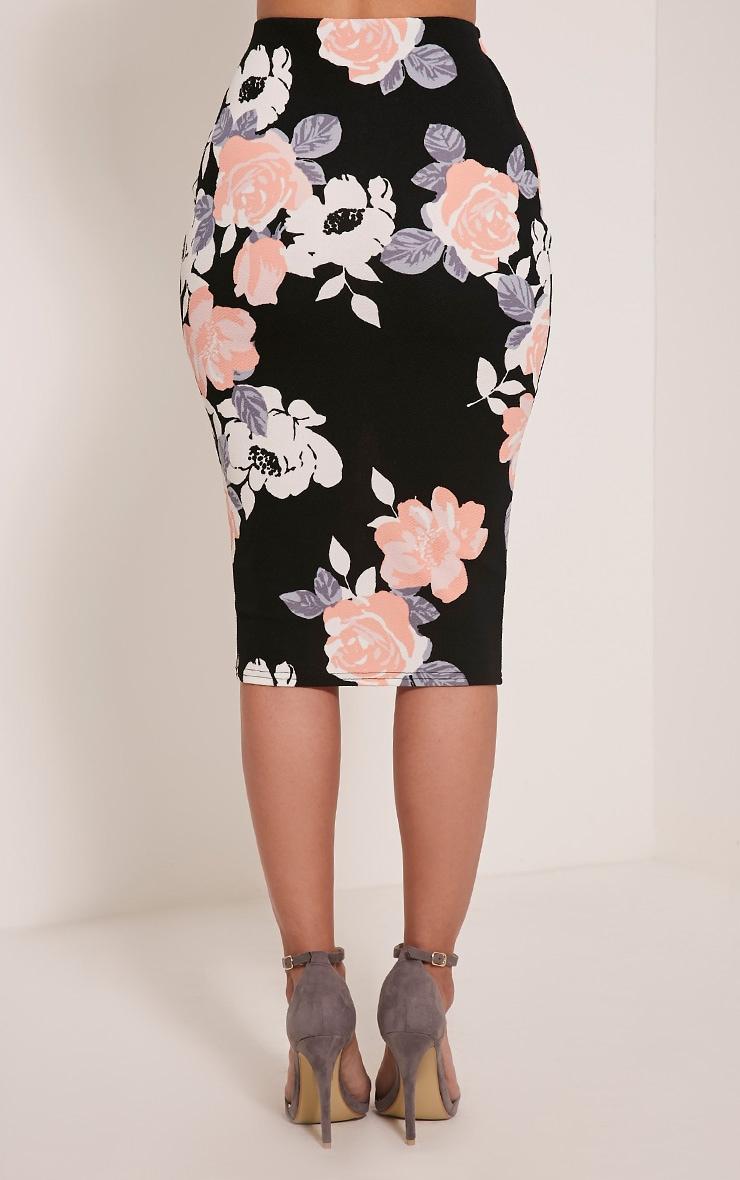 Francesca Peach Rose Print Midi Skirt 5