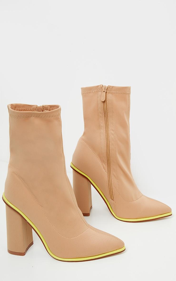 Neon Contrast Trim Block Heel Sock Boot 3