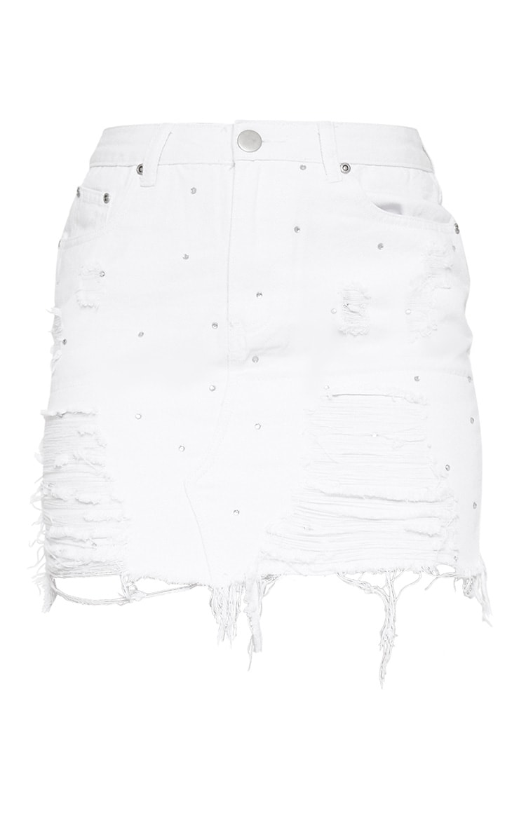 White Diamante Ripped Denim Skirt 3