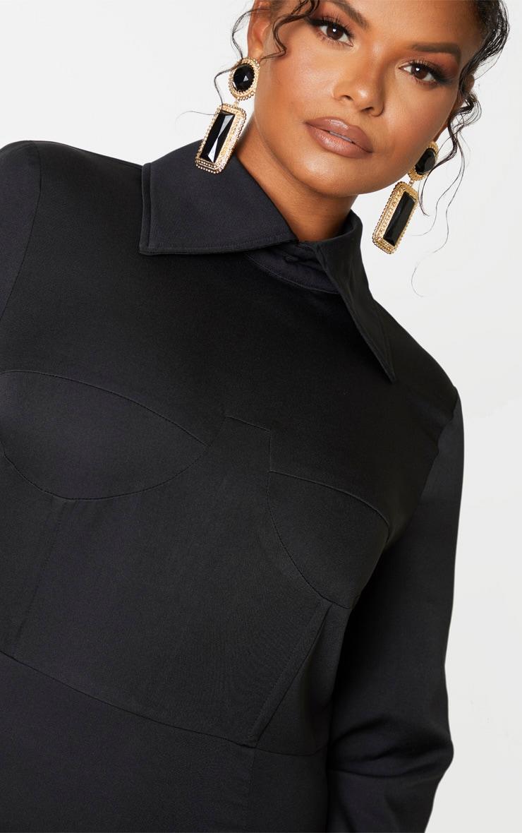 Plus Black Corset Detail Shirt Dress 5