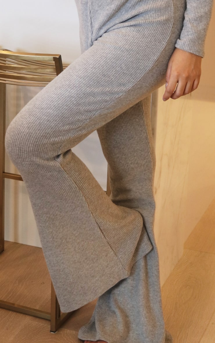 Maternity Grey Brushed Rib High Waisted Flared Trousers 4