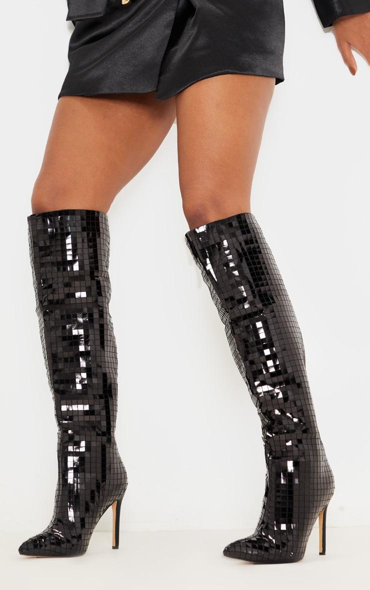 Black Disco Ball Knee High Boot 1