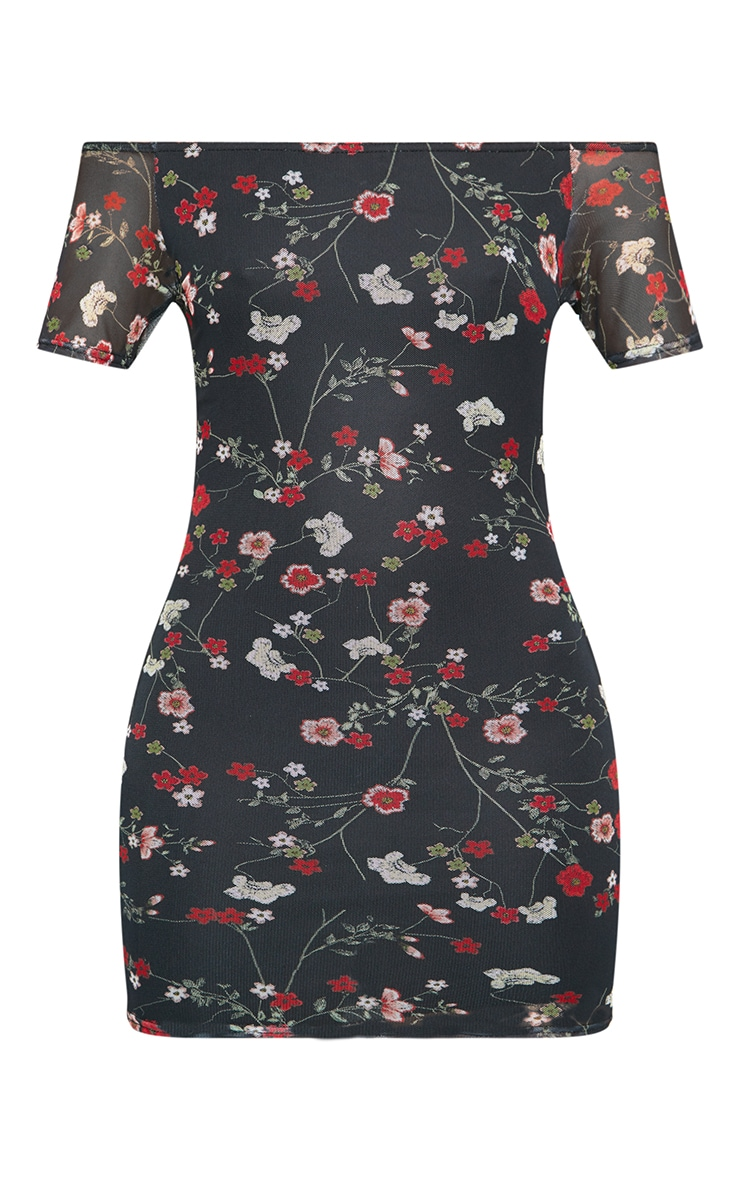 Black Mesh Floral Detail Bodycon Dress 3