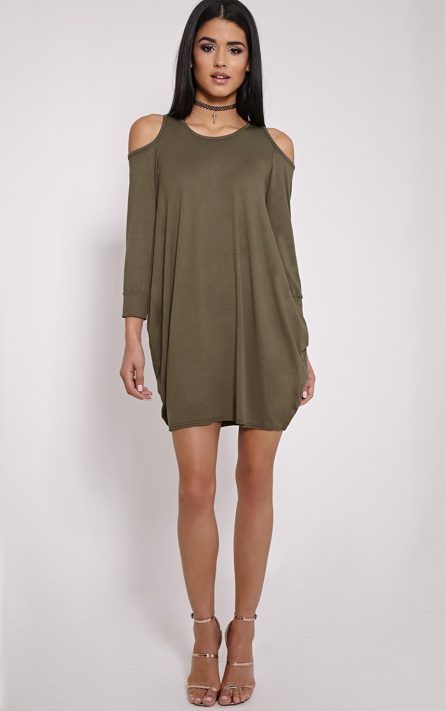 Bronywn Khaki Cut Out Shoulder Dress 3