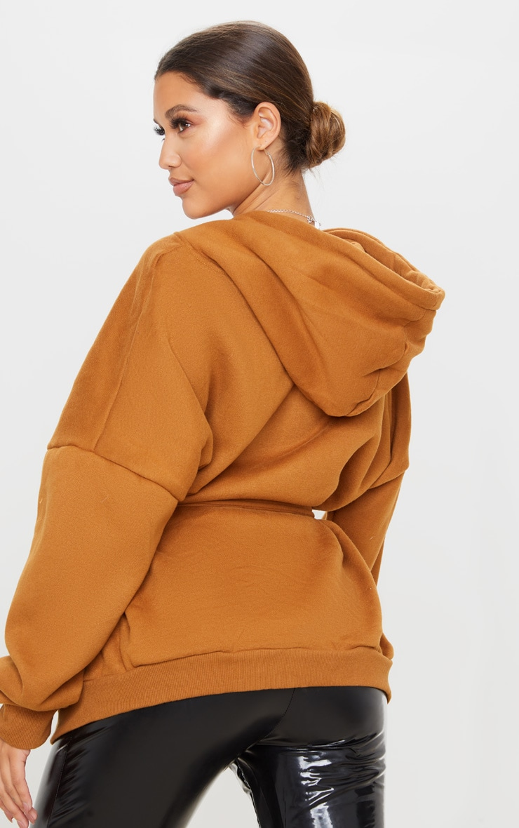 Camel Oversized Belted Sweat Hoodie 3