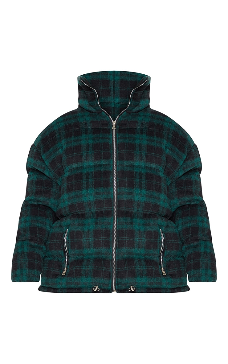 Green Oversized Checked Puffer 3