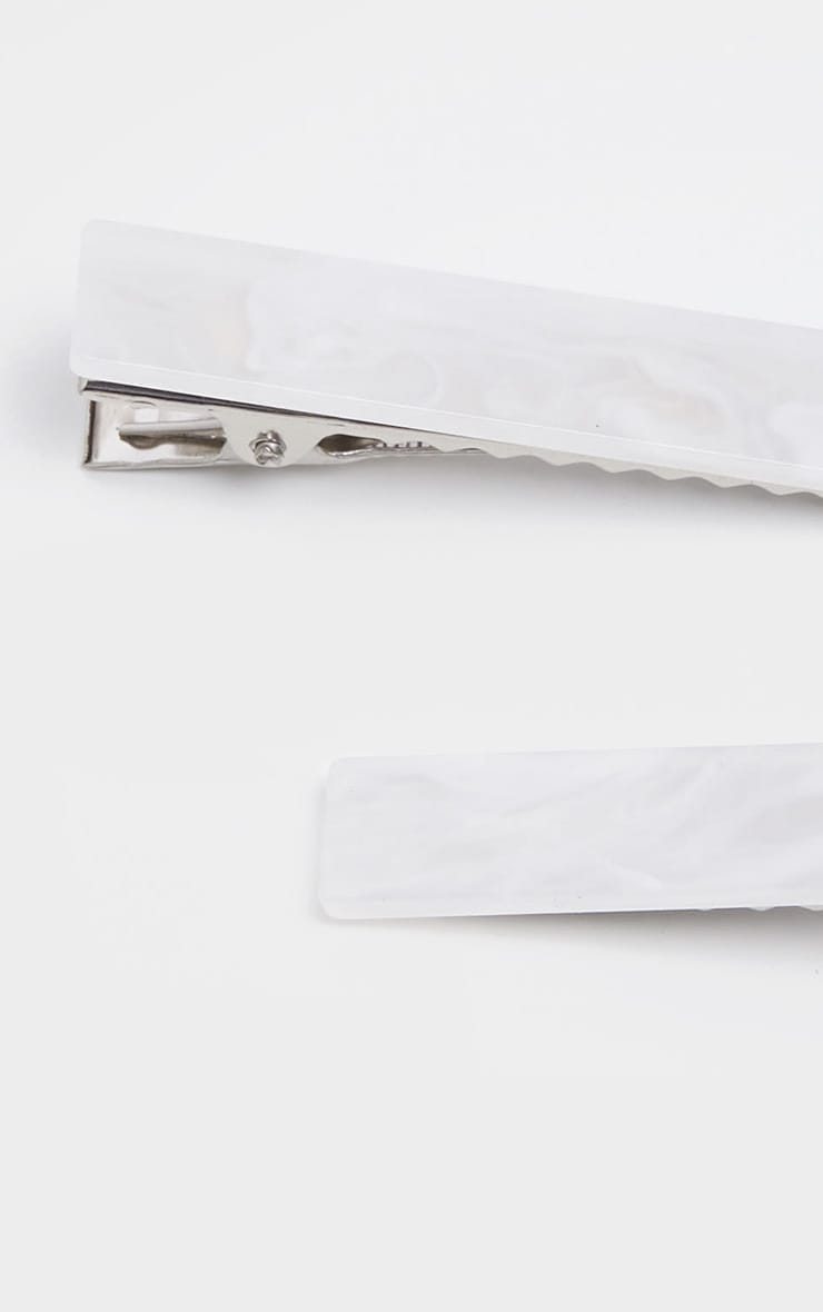 White Marble Rectangle Hair Clip 2 Pack 3