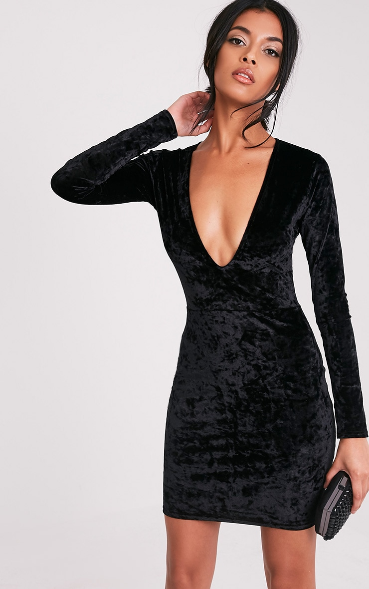 Charlie Black Plunge Detail Velvet Mini Dress 1
