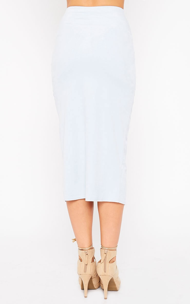 Riley Powder Blue Suede Midi Skirt 4