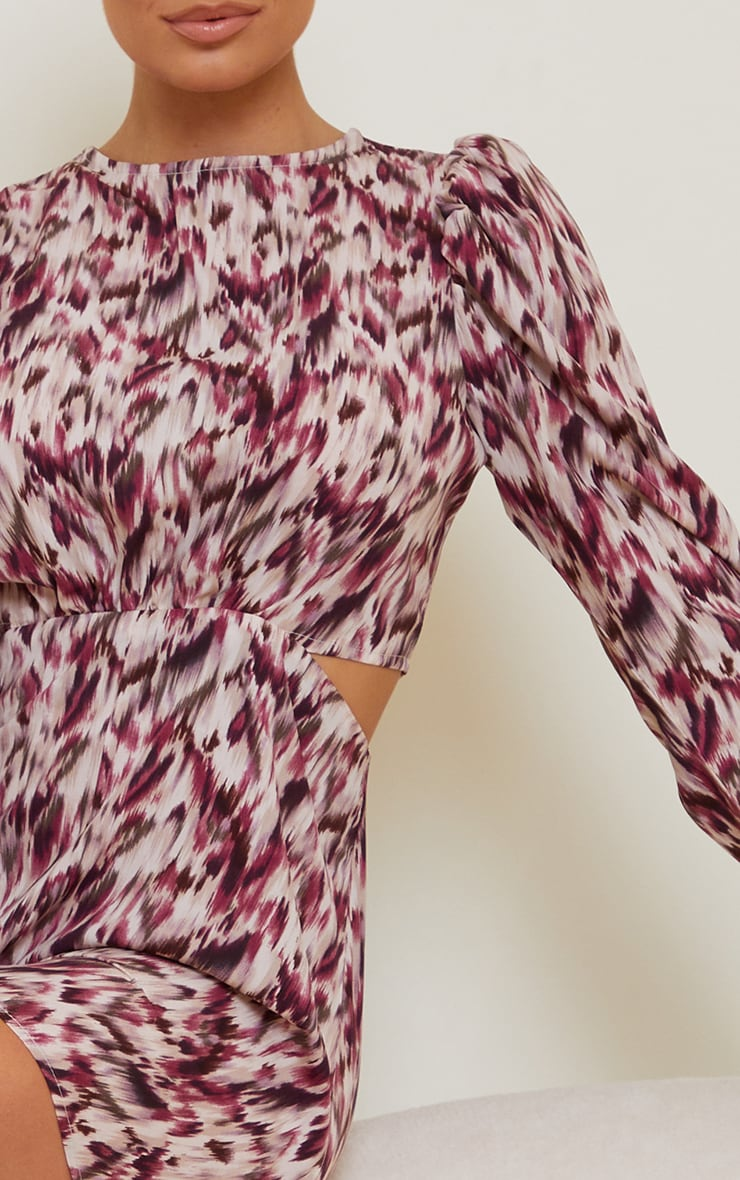 Purple Printed Puff Sleeve Cut Out Rompe 4