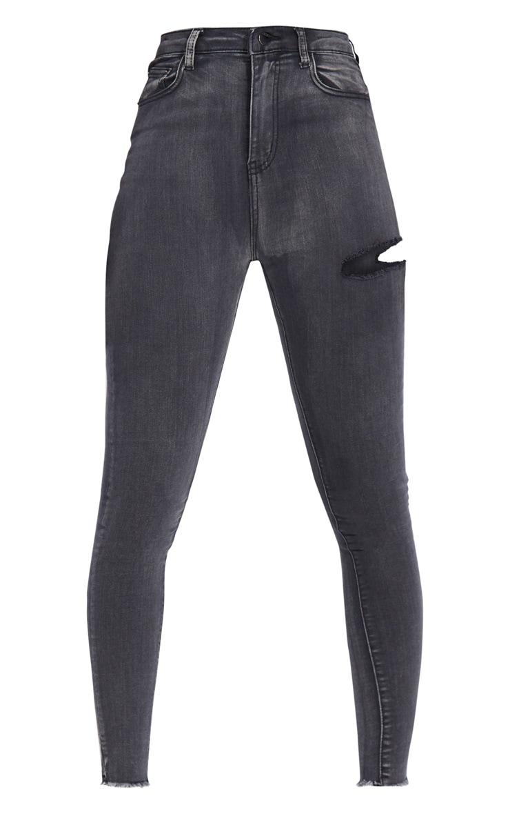 PRETTYLITTLETHING Tall Washed Black Thigh Rip Raw Hem 5 Pocket Skinny Jeans 5