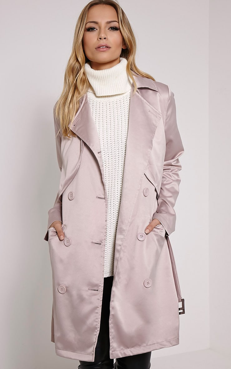 Almeria Mink Satin Feel Trench Coat 1
