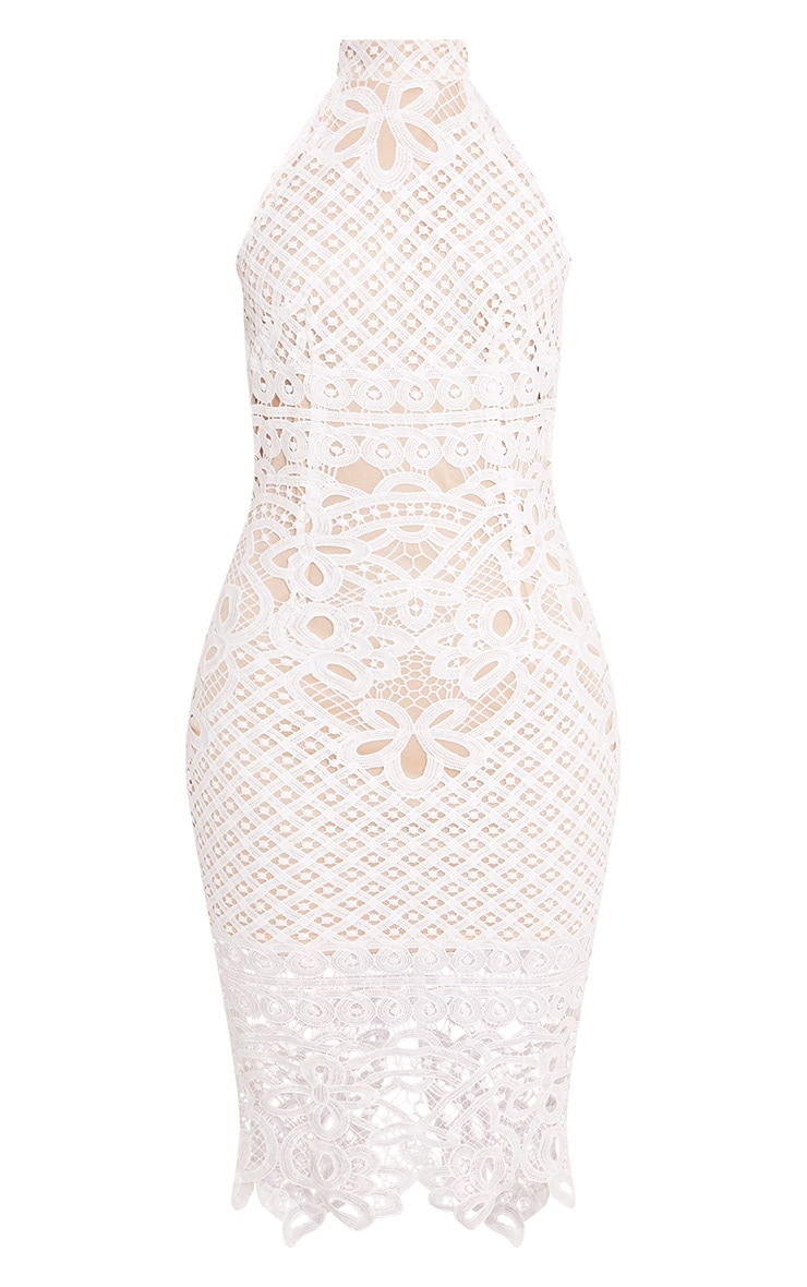 Hanny White Crochet Midi Dress 3