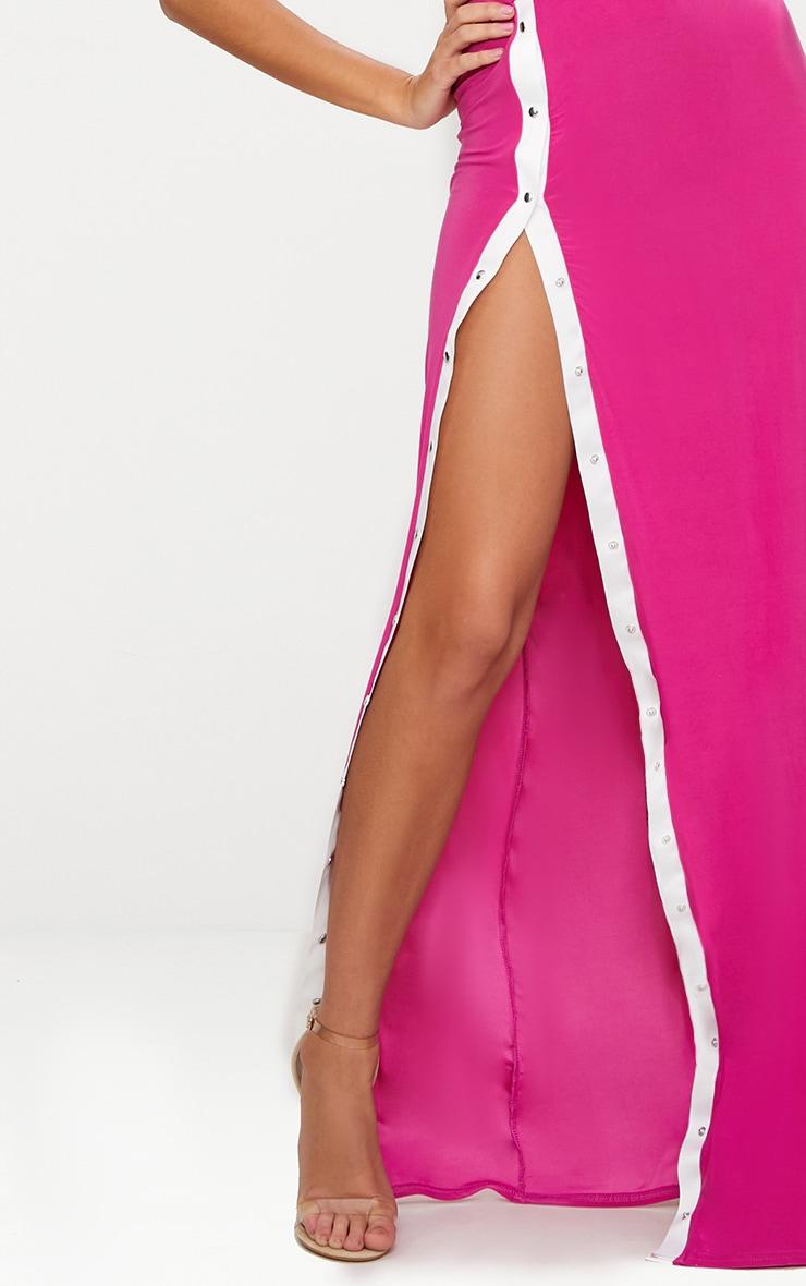 Fuchsia Plunge Popper Detail Extreme Split Maxi Dress  5