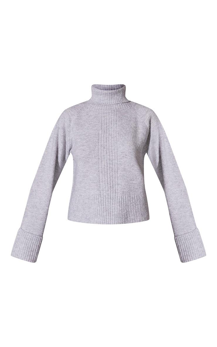 Light Grey Deep Cuff Roll Neck Sweater 5