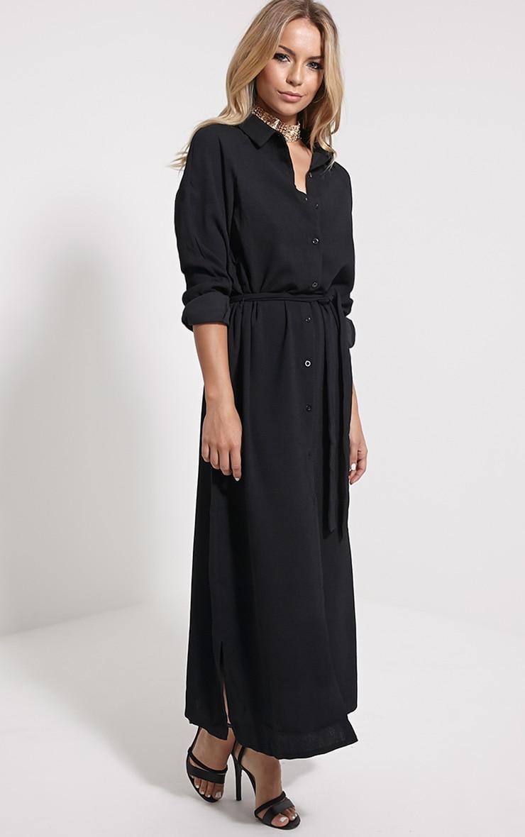 Ayla Black Longline Crepe Shirt Dress 4